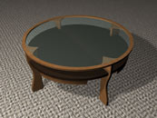 round coffee Table  with stone and glass