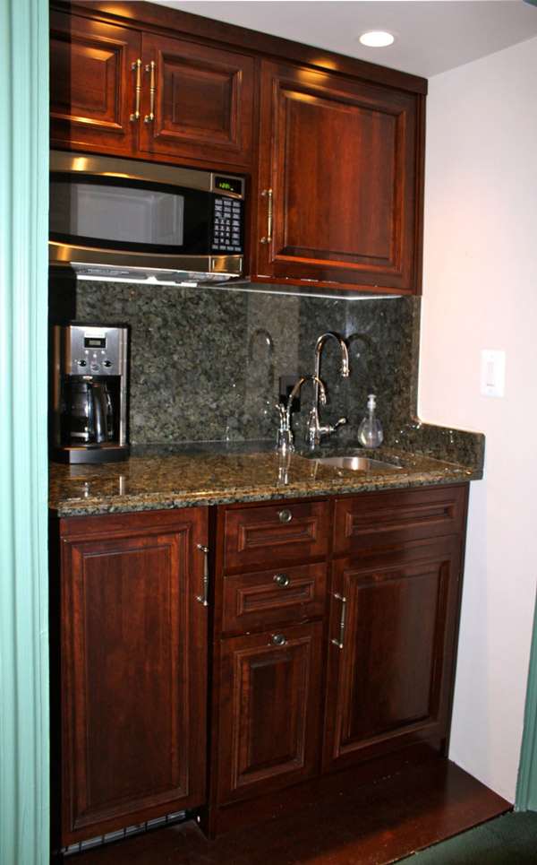 Commercial kitchen cabinet built in coffee station for Coffee station furniture